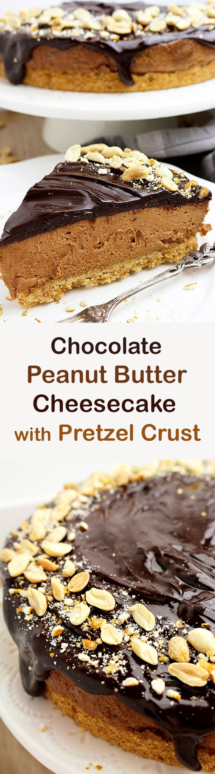 Chocolate Peanut Butter Cheesecake with Pretzel Crust - simple, quick and tasty special dessert, perfect for any occasion.You can make it for Father's Day ♥