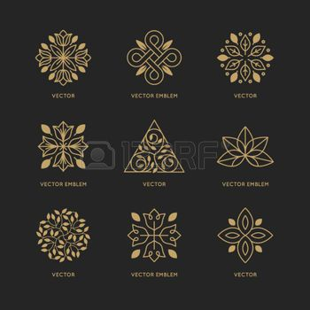 botanical: Vector set of logo design templates and emblems in trendy linear style in golden colors on black background - floral and natural cosmetics concepts and alternative medicine symbols
