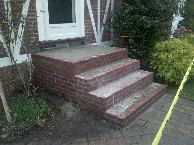 Bluestone steps with brick brick steps in progress for How to build a brick house step by step pdf