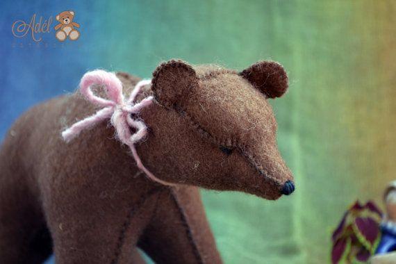 Big Brown Bear - felt bear - felt animal - waldorf toy