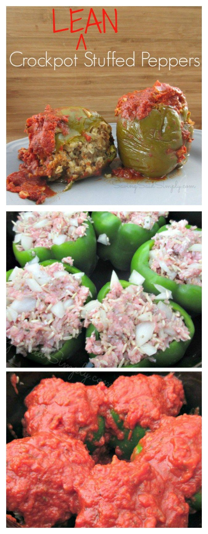 Crock Pot Lean Stuffed Peppers Recipe | healthy stuffed peppers recipe, made in the slow cooker