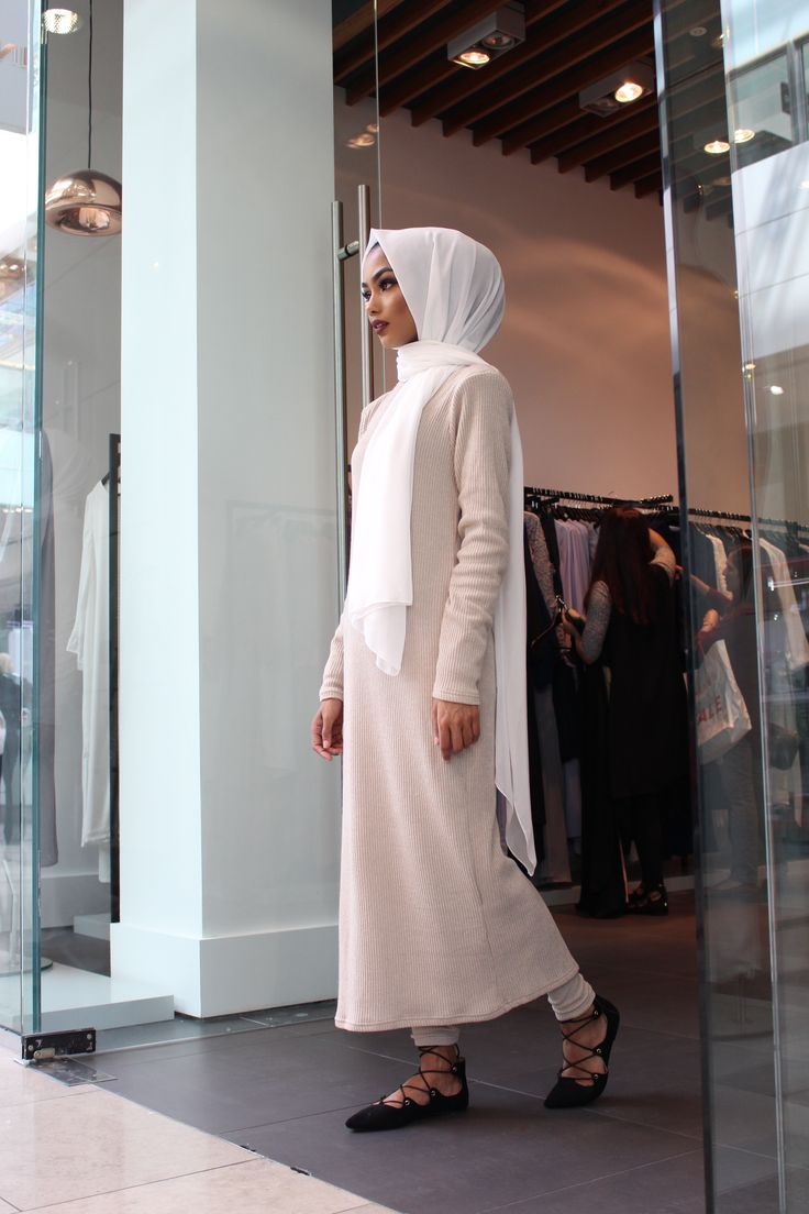 INAYAH   Sabina Hannan wearing: Stone Rib #Maxi with #Leggings, coming soon in black! The outfit has been paired with our White Maxi Crepe #Hijab. Shop the look at www.inayah.co