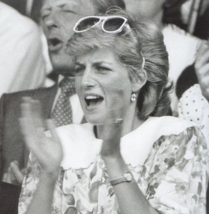 5 July 1987 Diana at Wimbledon for the Mens' Singles, Semi-Final Match between Pat Cash and Ivan Lendl