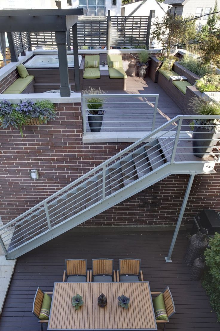 Urban garage roof deck google search deck redo for Flat roof garage with deck plans