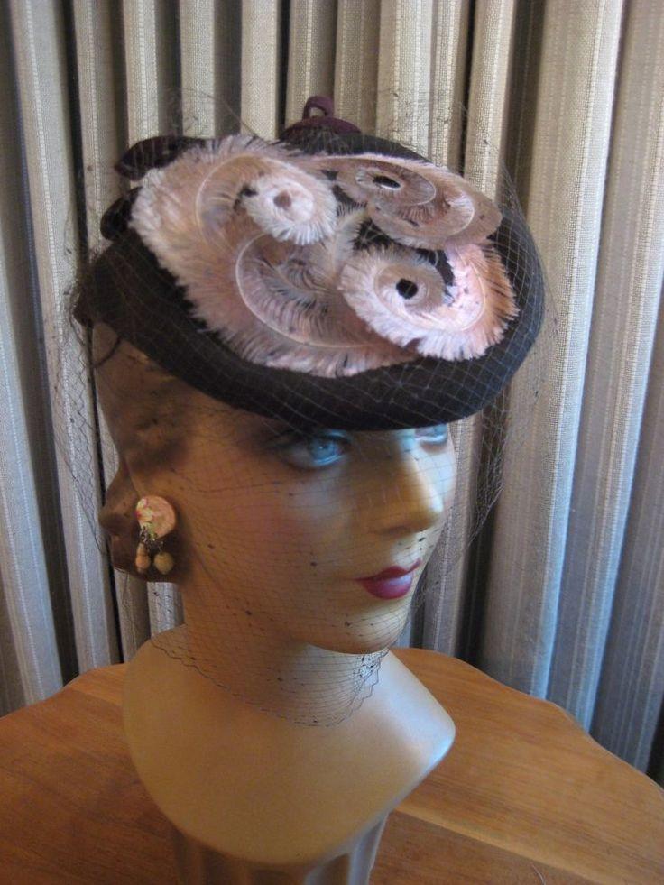 DELIGHTFUL 40'S BRN FELT ASYMMETRICAL HAT W/ PINK, BROWN CURLED FEATHERS & VEIL  | eBay