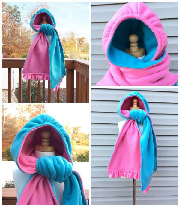 Hooded scarf sewing pattern. This includes all sizes for kids and adults. It is reversible and has elastic option to make the hood wind tight. So warm!! (affiliate)