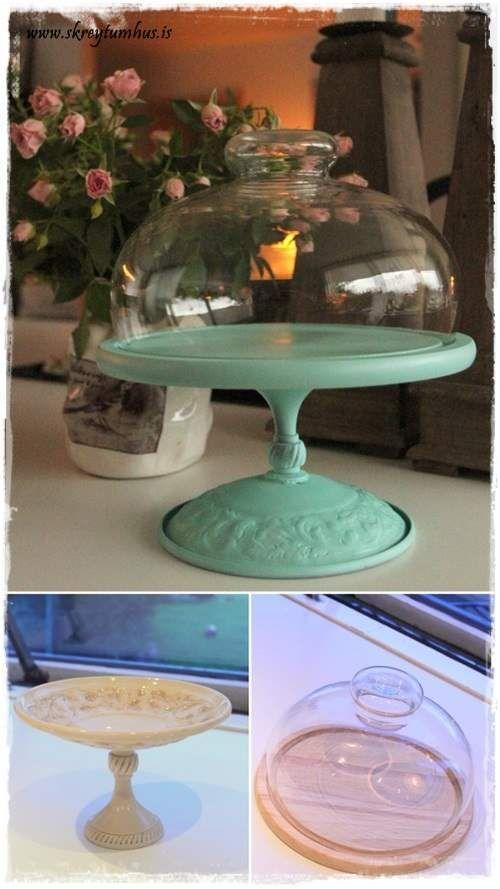 Essa peça não foi feita com um prato e sim com um porta bolos, e serve perfeitamente para decorar a mesa.
