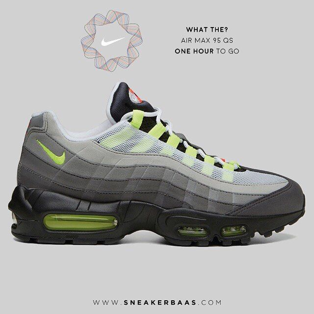 """#nikewhatthe #nikeairmax #airmax sneakerbaas #baasbovenbaas  Nike Air Max 95 QS """"What the?"""" - Six classic colours are added to the iconic sneaker from 1995. The classic dark grey toebox and reflective silver upper remain.  One hour to go!   Price 179.95   Sizes EU 40 - EU 46.5"""