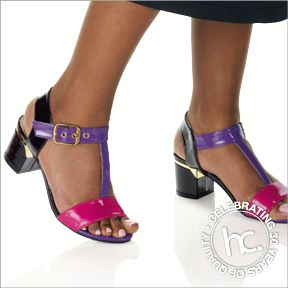 And along came Polly. Soft faux leather with ankle strap. Available in sizes: 4 - 8 Colour: Black, black/white or purple/pink