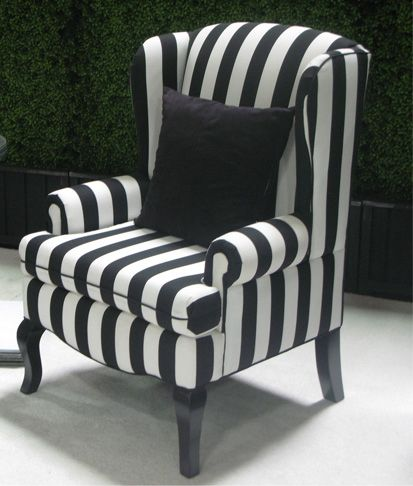 black wing back chairs | Encore/Black & White Stripe Wing Back Chair | Town & Country Event ...