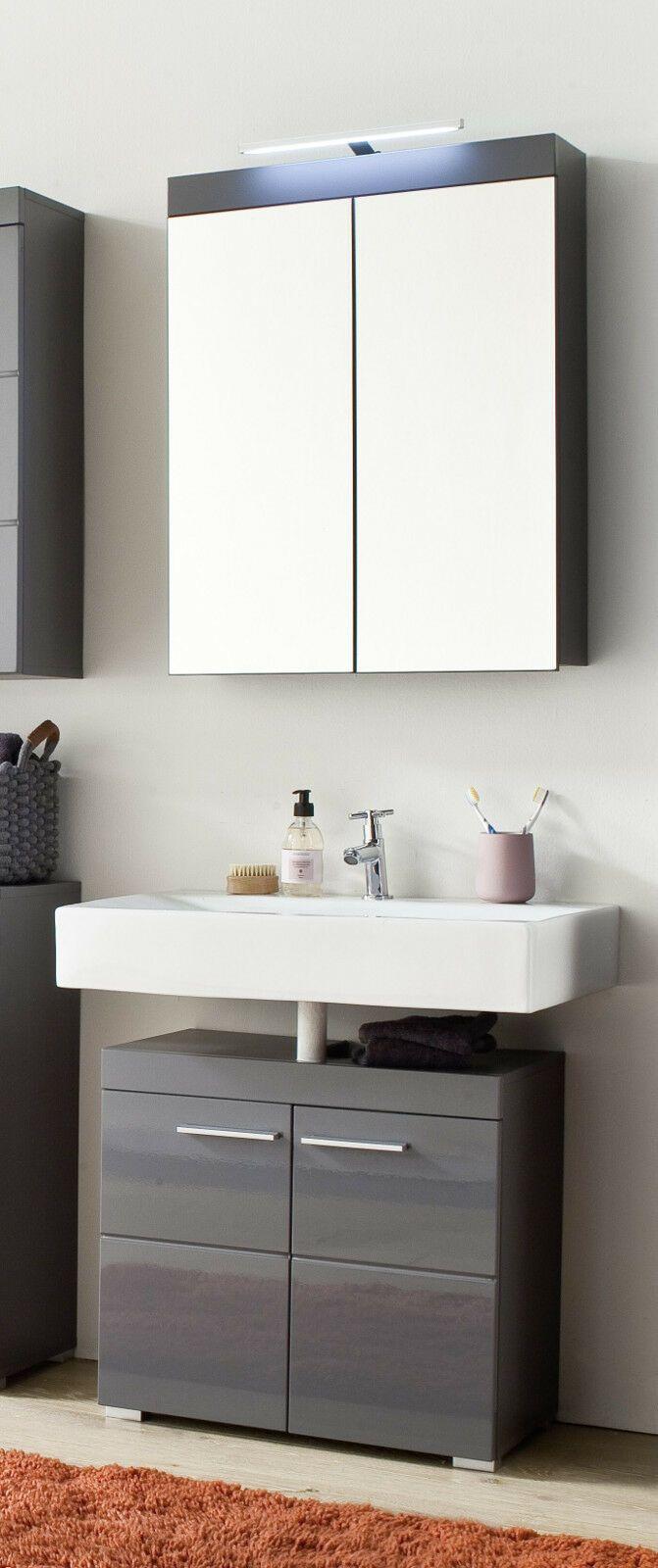 Bad Mobel Set Grau Hochglanz Badezimmer Spiegelschrank Unterschrank Amanda 60 Cm In 2020 Badezimmer Spiegelschrank Spiegelschrank Unterschrank