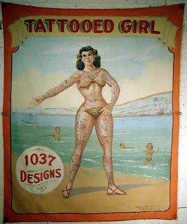 Tattooe Girl  Vintage Sideshow Banner Art