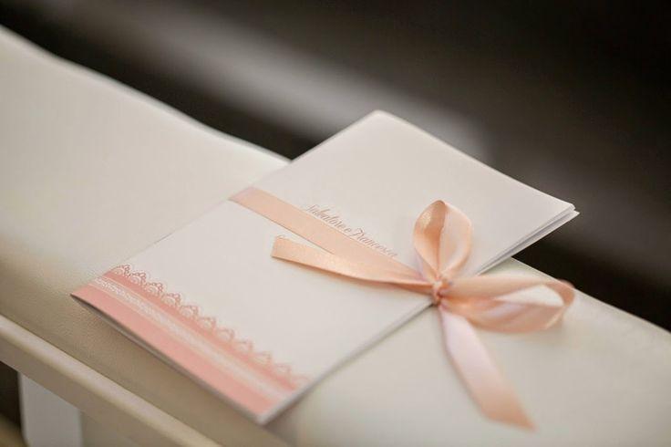 Matrimonio rosa pesca. Libretto chiesa