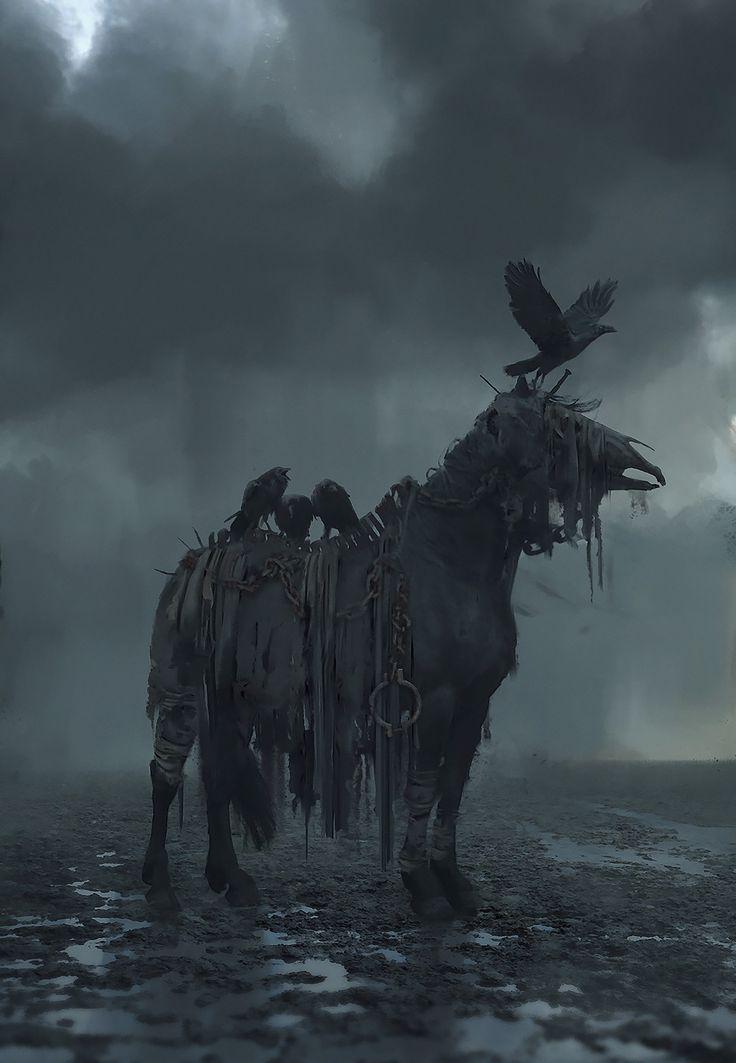 dead horse, Rostyslav Zagornov on ArtStation at https://www.artstation.com/artwork/XbrYY