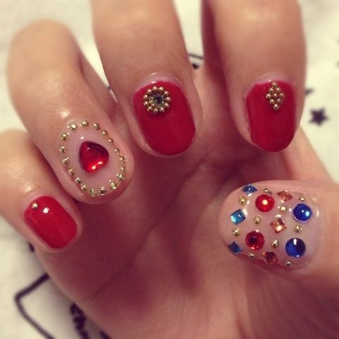 awesome Multi Colored Simple Nail Art Design Images