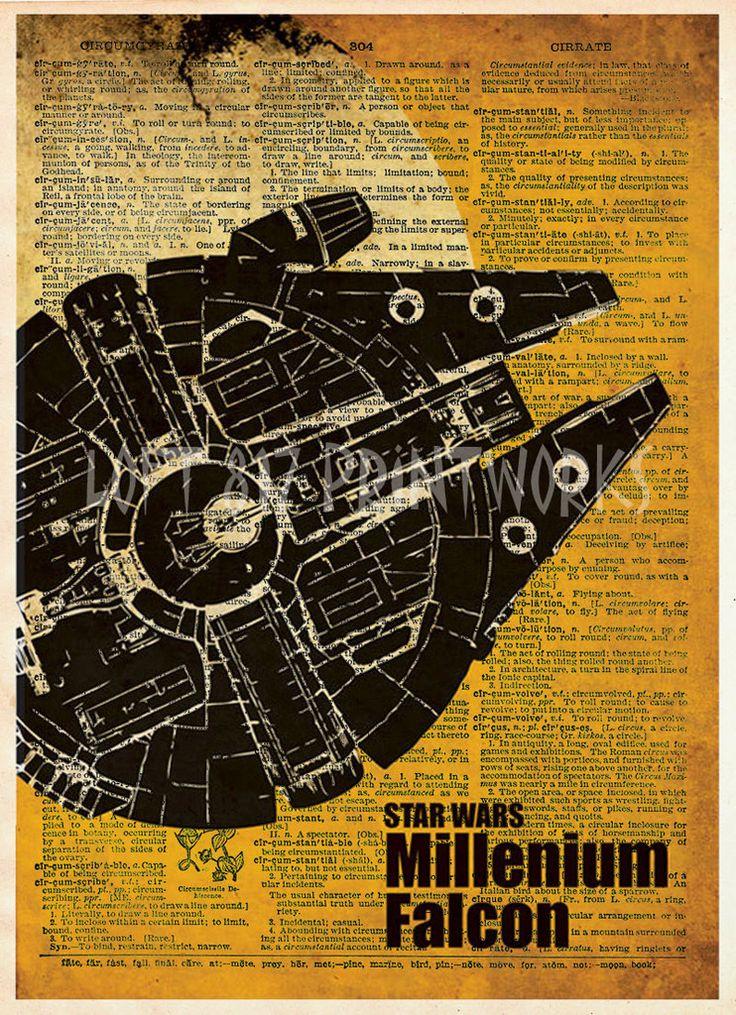 Star wars art print, Millennium Falcon, vintage star wars art, dictionary print