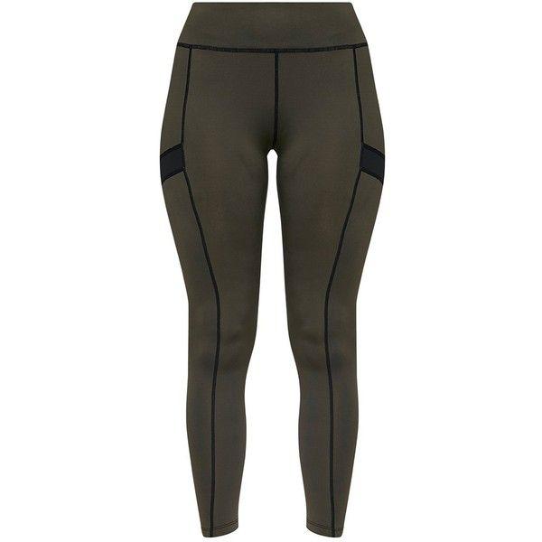 Isadora Khaki Panelled Gym Leggings ($23) ❤ liked on Polyvore featuring pants, leggings, mesh-panel leggings, khaki pants, khaki leggings, legging pants and khaki trousers