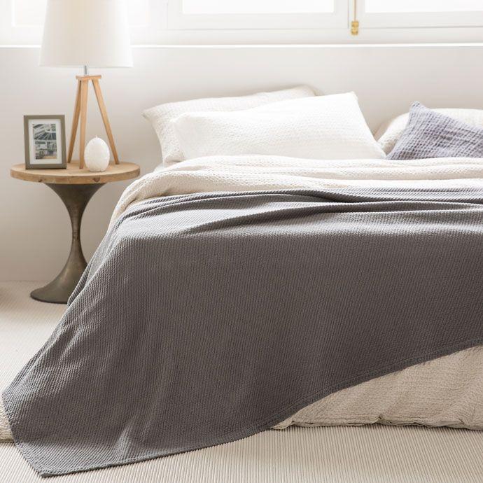 Colcha e capa de almofada algodão riscas diagonais cinzento-escuro