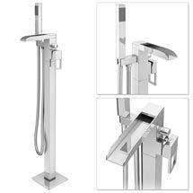 Plaza Waterfall Floor Mounted Freestanding Bath Shower Mixer - Chrome
