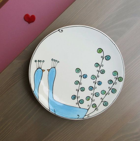 small peacock serving plate