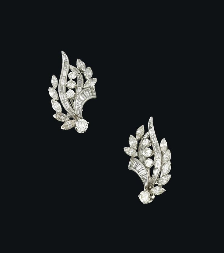A pair of diamond earrings #christiesjewels #earrings