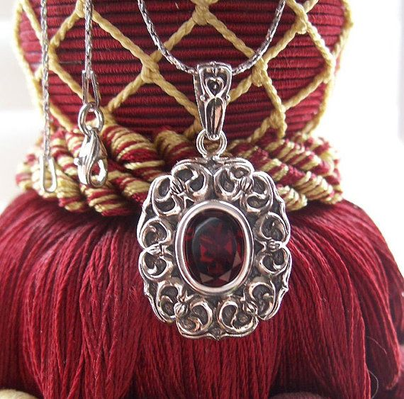 Shop25 = 25% off your purchase.  Mozambique Garnet Pendant & Chain in Solid .925 by AllKaratCache, $34.99
