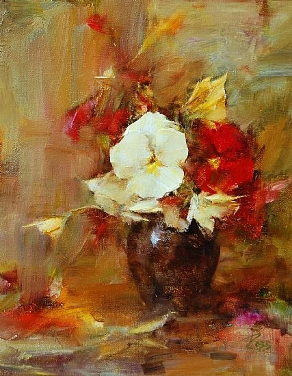 Bouquet in Red and Yellow by Laura Robb Oil ~ 10 x 8