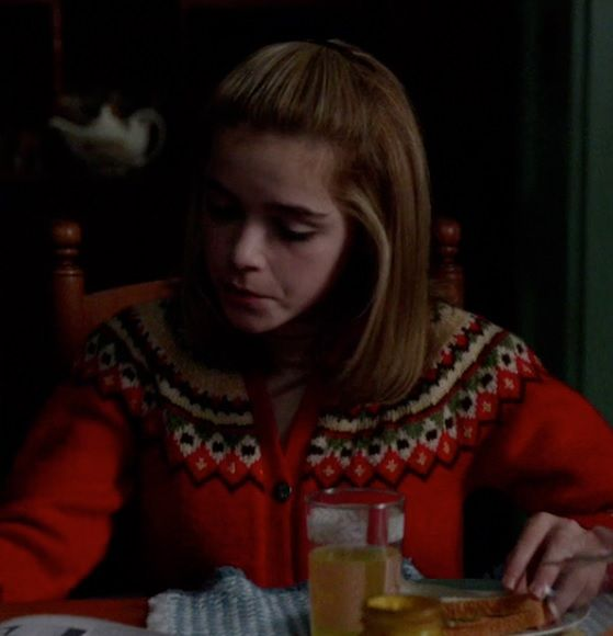 Sally Draper's Red Knitted Cardigan from Mad Men: The Doorway #ShopTheShows #curvio