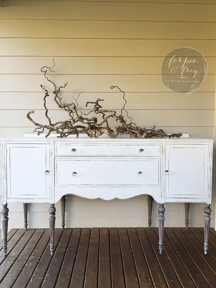 Buffet painted by Amanda of Ferpie and Fray in General Finishes Snow White with Glazed legs