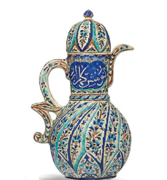 Kutahya Pottery Ewer and Cover West Anatolia 19th Century
