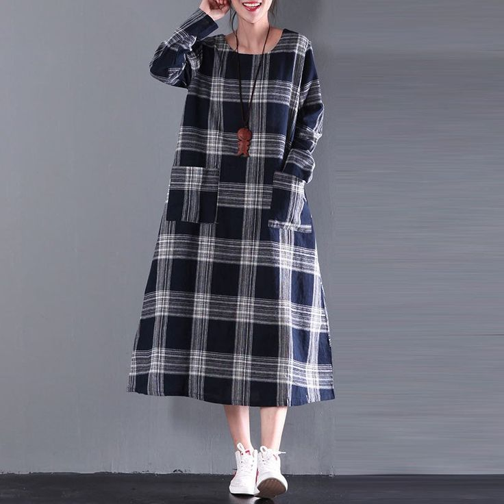 A type of classic black plaid dress.|| We love cotton&linen dress! Especially these! They have  a tied waist and two pockets. As far as linen dress go these are as fancy as they get!