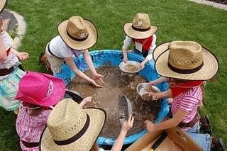 use baby pool filled with sand for gold rush (search for pennies or gems in sand) Use tin foil pie plate with holes for sieve
