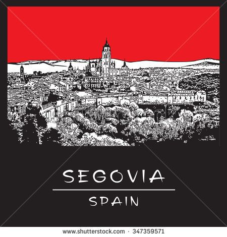 Panorama of old town Segovia (Spain) in Red, black and white color.  Vector illustration in engraving style.