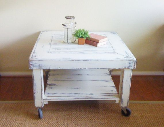 Beautiful Industrial / Shabby Chic Coffee Table On Casters