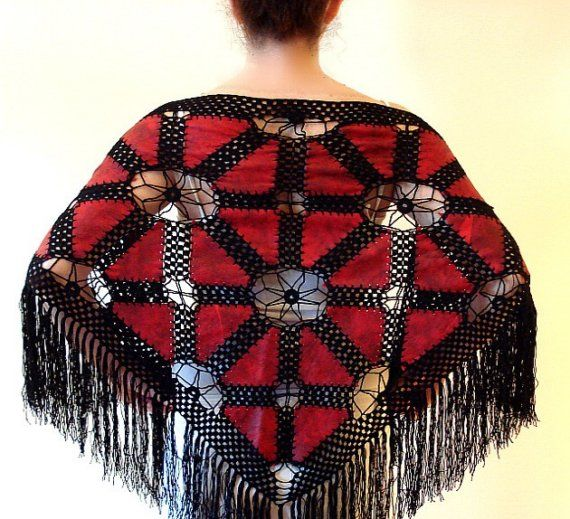 Red Patchwork Leather Lace Crochet Triangle Shawl