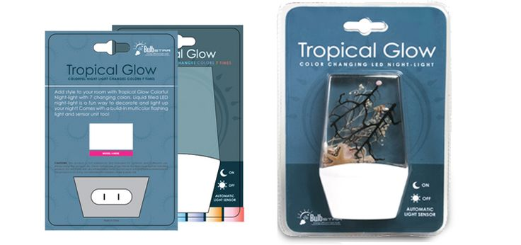 Bulb Star Tropical Glow Color Changing LED Nightlight package design by Ready Artwork
