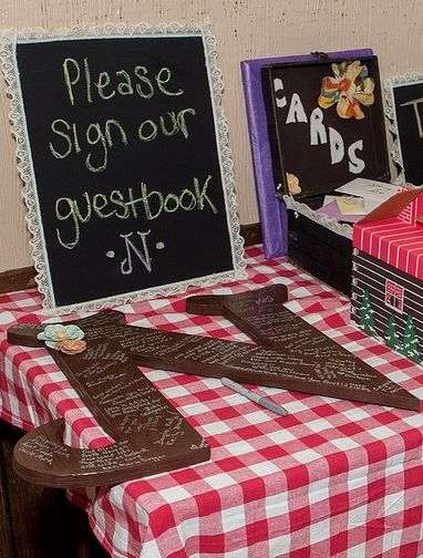 Guest book idea--have people sign an initial of your last name. Seal it and use in your new home.