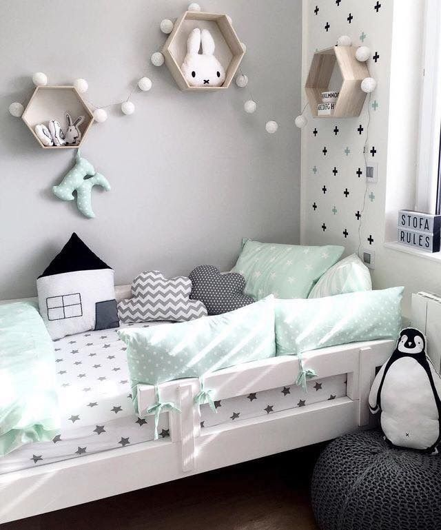 Adorable Little Kids Bedroom | White and Grey Polka Dots | Seafoam Green Accents