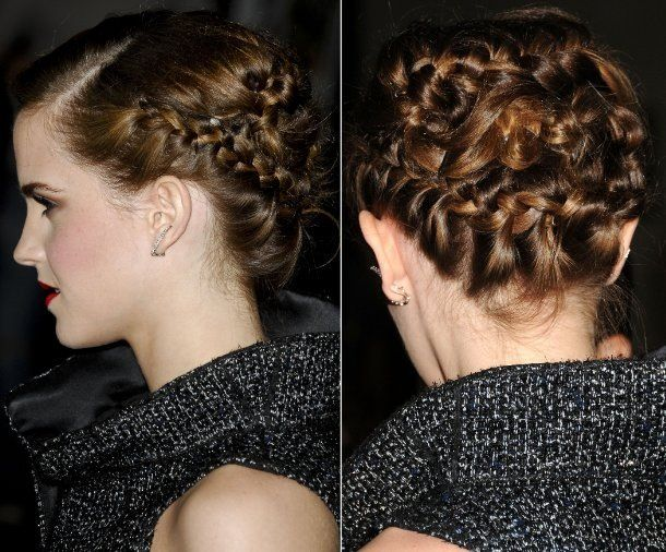 Emma Watson Wears On-Trend Braided Updo | Engagement ...