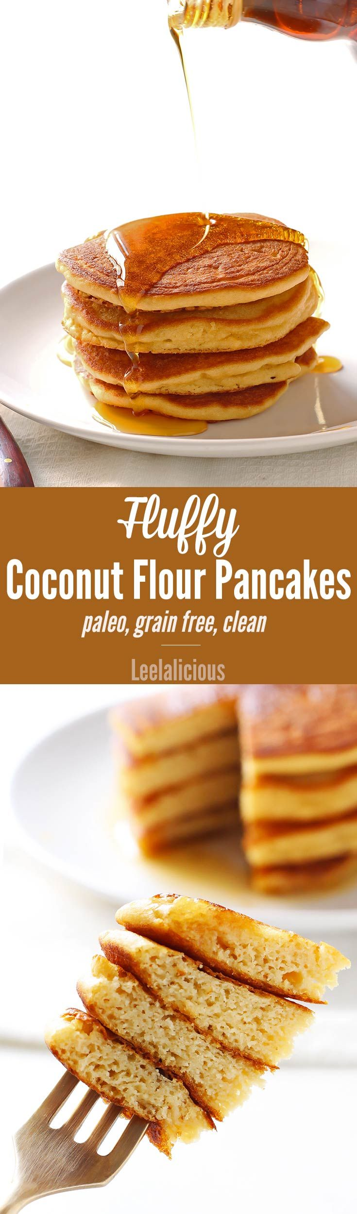 This clean eating recipe for fluffy coconut flour pancakes makes a delicious breakfast treat that is gluten free grain free and paleo friendly.