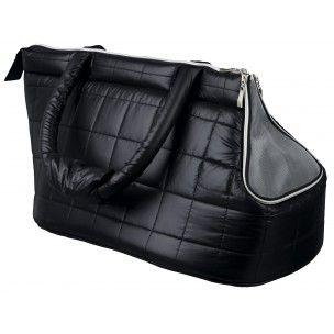 Sac de transport pour chien et chat, en polyester. Avec laisse de sécurité qui empêche l'animal de sauter et filet de protection à fermeture éclair. Dimensions : 25 x 30 x 45 cm.  Coloris : Noir.