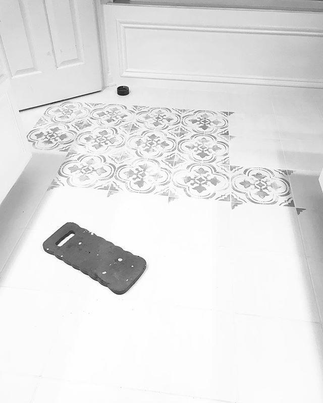 Painted Stenciled Floors Gray And White Faux Ceramic Tiles Budget Friendly Bathroom Ideas Sant Tile Stencil Stenciled Concrete Floor Arrow Wall Stencil