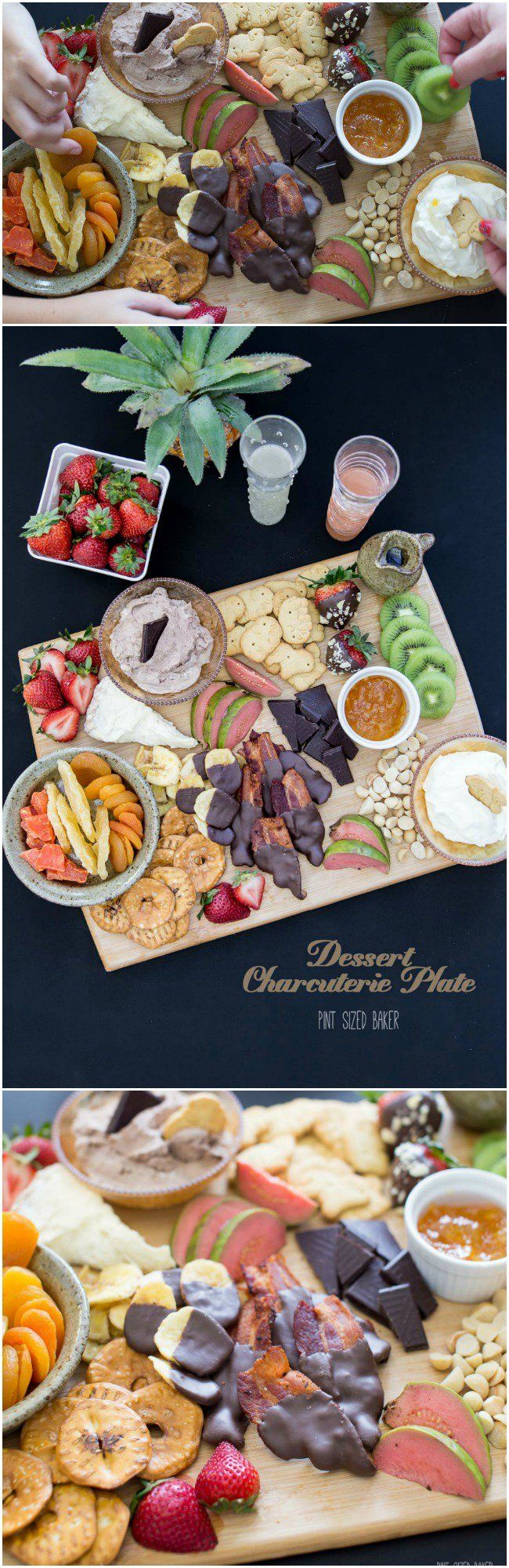 Fresh fruit, chocolate, animal crackers, and whipped cream make up a great dessert charcuterie plate.