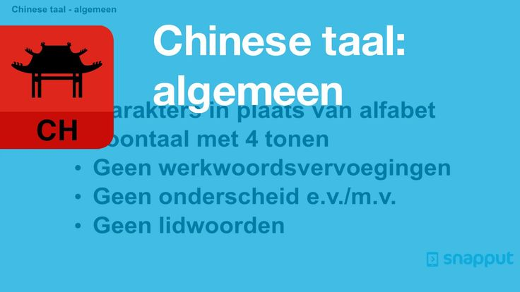 Als je net begint met Chinees leren lijkt de taal wel een moeilijke puzzel. Er worden karakters gebruikt in plaats van een alfabet, er zijn vier tonen die je in de gaten moet houden en ook de grammatica is heel anders. In deze video worden de belangrijkste algemene kenmerken van het Mandarijn voor je op een rijtje gezet.
