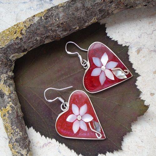 Perlmutt Intarsie, Blüte, Blume, Ohrringe, Ohrhänger, Silber plattiert in Uhren…