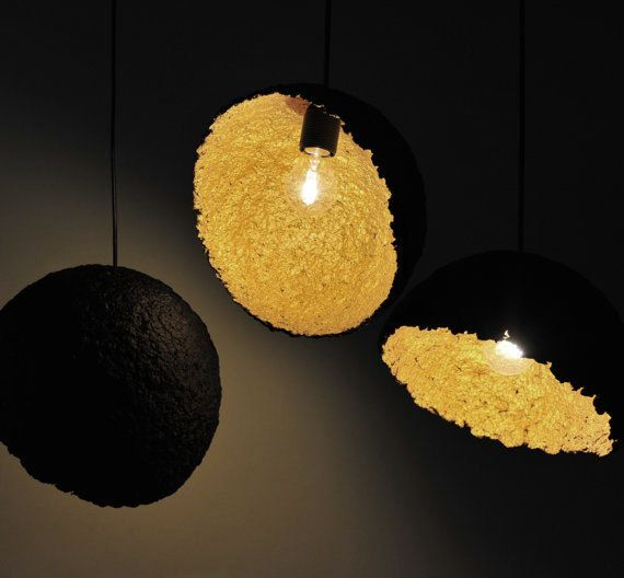 paper lighting. group of lights set 3 paper pulp lamp shades black and golden lampshades handmade lamps art lighting pendants ceiling usd by b