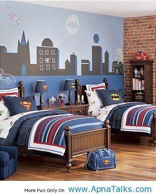 Batman Bedroom Ideas http://www.apnatalks.com/superman-batman-blue-red