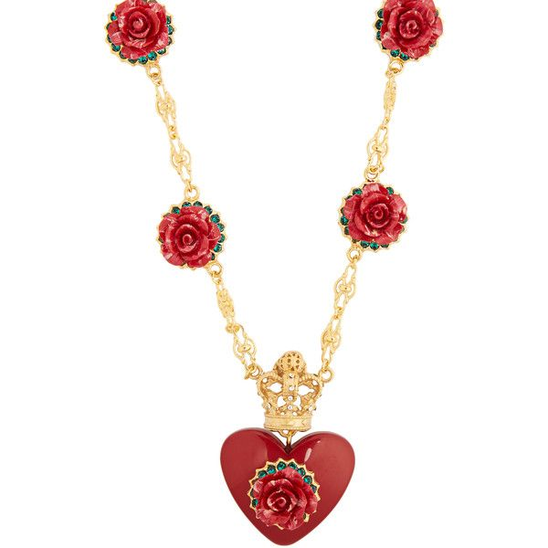 Dolce & Gabbana Heart and rose-pendant necklace (£675) ❤ liked on Polyvore featuring jewelry, necklaces, red, rose necklace, heart necklace, red rose crown, red pendant necklace and crown necklace