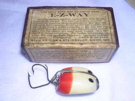 """Most Likely to Hurt You Before You Catch a Fish  """"The E-Z Way Bass Bait, made around 1915 by Harlow & Steinbaugh of Newark, Ohio, is unquestionably one of the most dangerous lures ever manufactured."""" Field & Stream"""