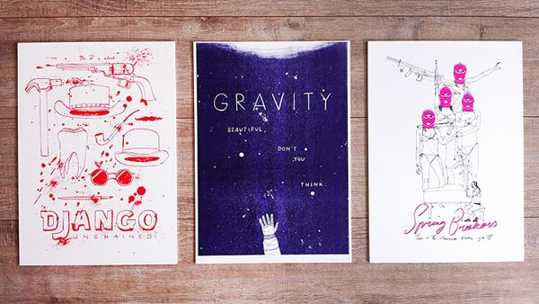 Made by Marianne Lock / Movieposters / RISO print / Django / Gravity / Spring Breakers / FOR SALE